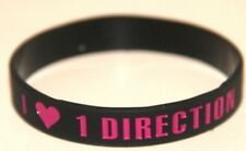 ONE DIRECTION 1D 'I <3 love 1 Direction' black wristband bracelet *SAME DAY POST