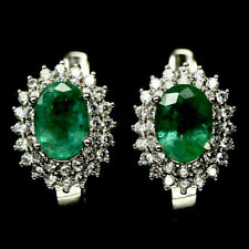 NATURAL 5 X 7 mm. GREEN EMERALD & WHITE CZ 925 STERLING SILVER EARRINGS