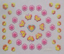 Accessoire ongles nail art -Stickers autocollants- papillon et fleur multicolore