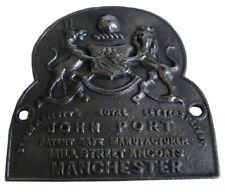 VERY RARE LARGE ANTIQUE HEAVY CAST JOHN PORT MANCHESTER SAFE PLATE  (5130)
