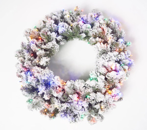 "Bethlehem Lights 26"" Flocked Overlit Wreath. Multi Lights. H219093. **A**"