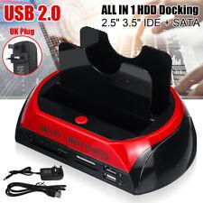 More details for 3.5″ 2.5″ ide sata dual hard drive hdd docking station usb  hub + card reader uk