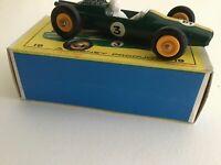 MINT MATCHBOX LESNEY 19D LOTUS RACING CAR AND ORIGINAL E BOX