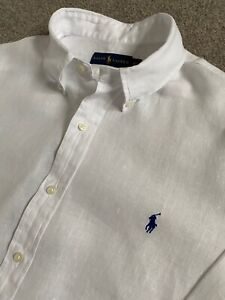 WORN ONCE POLO RALPH LAUREN WHITE LONG SLEEVE LINEN SHIRT XL