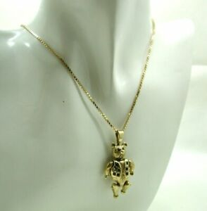 Heavy 9 Carat Gold And Gem Set Articulated Teddy Bear Pendant And Chain