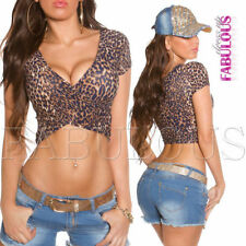 Animal Print Polyester Crop Tops for Women