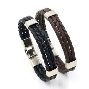 Mens Womens Black/BROWN Pu Leather Bracelet platinium color plated 7.5inch