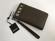 DKNY Womens Phone Purse Wristlet Wallet Leather - Zip Around - Olive - RRP £125