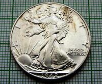 UNITED STATES 1942 1/2 HALF DOLLAR WALKING LIBERTY, BETTER GRADE, SILVER