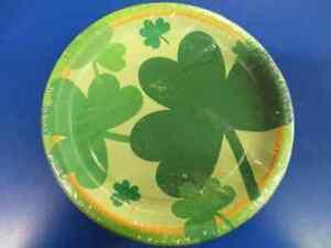 "Shamrock Day St. Patrick's Irish Green Holiday Party 7"" Paper Dessert Plates"