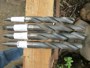 """Morse Taper Drills H.S. job lot of 4 imperial sizes 1"""", 63/64"""",7/8"""""""