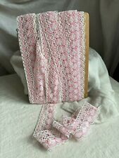Vintage Lace Shelf Trim Pink & White Cotton Tape, French Sewing Supplies/  3m