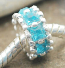 .925 SILVER BEAD EUROPEAN CHARM FOR BRACELET #A1 blue crystal spacer links new