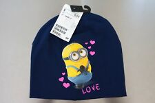 NEW H&M KIDS BOYS GIRLS DESPICABLE ME MINIONS BEANIE SIZE 1.5 - 4Y HAT LOVE BLUE
