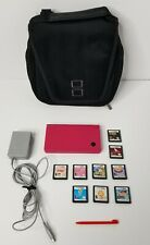 Nintendo DSi Pink Bundle W/ 9 Games Charger Carrying Case Stylus No SD Card