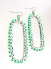 Artisanal Blue Turquoise Beads Silver Rectangle Chandelier Earrings B7