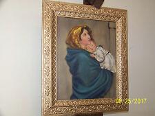 Religious Theme Original Oil On Canvas Antique Wood Frame