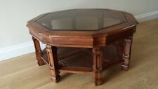 Antique Solid Pine Wood, 8 sided Circular Coffee Table Glass top 92cm W 41cm H