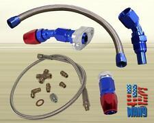 Turbo Oil Drain Return + Feed Braided Line kit Flange fitting for T3/T4 T04E T60