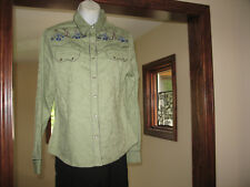 WRANGLER GORGEOUS EMBROIDERED HORSESHOES WESTERN COWGIRL SAGE GREEN SHOW SHIRT S