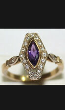 18Kt Yg Antique Halo Amethyst And Diamond Engagement Or Right Hand Ring Size 6