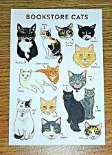 BIBLIOPHILE PRINTED POSTCARD ~ BOOKSTORE CATS ~ NEW