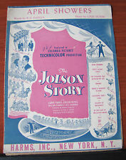 "April Showers ""The Jolson Story"" - 1921 sheet music - Piano Guitar Vocal"