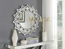 Star Wall Mirror Silver Mirrored Glass Frame Round Sun Modern Living Bedroom