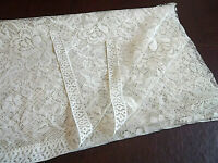 """Beige Floral Lace Fabric Remnant 60"""" Long x 50.5"""" Wide for Sewing Crafting"""
