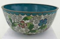 ANTIQUE CLOISONNE ENAMEL CHINESE ORIENTAL DISH BOWL BLUE CHINA