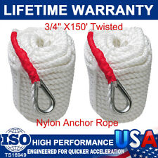 "2Pcs 3/4""x150' Anchor Rope Nylon Dockline Boat/ Sailboat/ Mooring/ Pull/ Thimble"