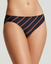 DKNY CLASSIC STRIPED SWIMWEAR HIPSTER BOTTOMS NAVY BLUE BROWN PETITE NEW! $56