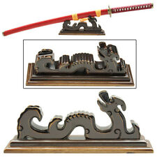 Legendary Carved Celestial Dragon Wooden Table Top Single Katana Sword Stand