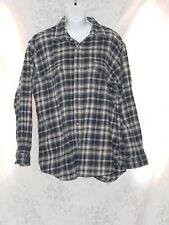 Field & Stream Plaid Checker Blue Cream Cotton Flannel Mens Shirt Jacket XL VGUC