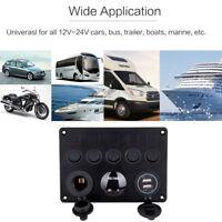 12V 24V Inline Fuse Box LED Rocker Switch Panel Dual USB Charger Socket Boat