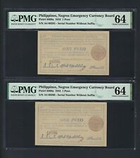 Philippines Negros Emergency 2 Notes One Peso 1944 PS668a Uncirculated Grade 64