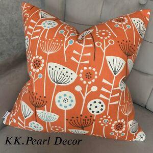 "Decorative Cushion Cover 18"" Designer Fabric Scandi Retro Style Orange Handmade"