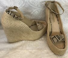 Andre Assous Straw Platform High Wedge Snake Strap Size 9 1/2 New