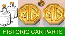 "2 x SU Carb ""MG"" Crested Brass Vented Damper Caps for MG TA Midget 1938-39"