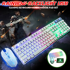 LED Backlight Rainbow USB Gaming Keyboard + Optical Gamer Mouse + Mouse Pad  *