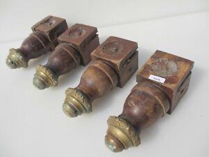 """Antique Carved Wooden Furniture Legs Victorian Column Feet Brass Ball Chair 8""""H"""