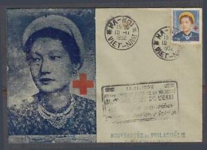 Vietnam South FDC Red Cross W/Nam-Phuong Stamp 10-11-1952 Hanoi P.M.
