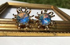 Vintage Stunning Gold Tone Flower Burst Blue Opal Color Rivoli Crystal Earrings