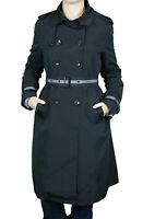 JANE POST Women's Black Mid-Town Zip-out Belted Trenchcoat Jacket Sz M NEW