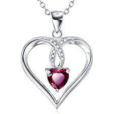 925 Sterling Silver Red Ruby Gems White Crystal CZ Infinity Love Heart Necklace