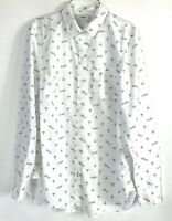 Women's Old Navy The Classic Shirt White Button Up With Anchor Ahoy Print Size S