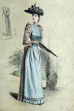 Fashion Moda Robe Cappello - Parigi Elegante Gourbaud Litografia 19e