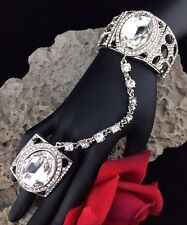 Bridal Pageant Prom Bracelet Cuff Ring Set Pure Ice Clear Crystal Silver Tone
