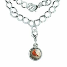 Cardinal Red Bird on Tree Branch Silver Plated Bracelet with Antiqued Charm