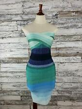 NWT Meilun Womens Bandage Bodycon Dress Party Sweetheart Neck Blue Ombre Sz Lg